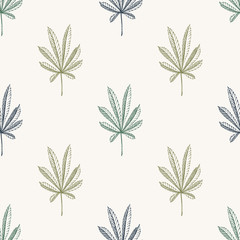 Vector simple Seamless pattern of hemp plant on a beige background cannabis texture