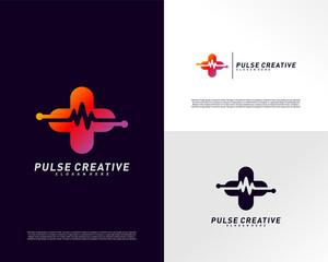 Plus Medical Pulse or Wave logo design concept. Healthcare Pulse logo template vector. Icon Symbol