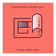 Structure paper icon. Construction plan symbol in vector line style. Architecture banner with structure plan icon on white background. Building concept, strategy, plan, planning. Engineering concept.