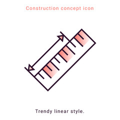 Ruler vector icon in line art style. Concept measurement vector linear illustration. Flat design modern vector illustration. Button, icon. Geometric shape. Interior design process.
