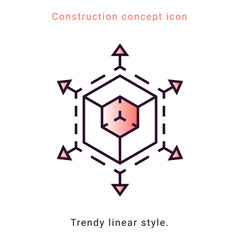 3d trendy symbol. Augmented Reality illustration. VR icon. Vector trendy linear style. Scaling icon with 3d cube sign and line arrows.