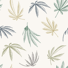 Vector colorful Seamless pattern of hemp plant on a beige background cannabis texture