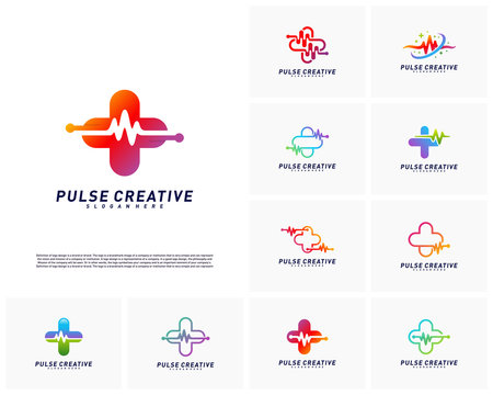 Set of Plus Medical Pulse logo design concept. Healthcare Pulse logo template vector. Icon Symbol
