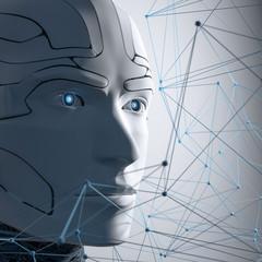3D Illustration Roboter Kopf vernetzt weiß