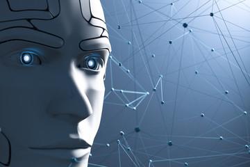 3D Illustration Roboter Kopf vernetzt blau