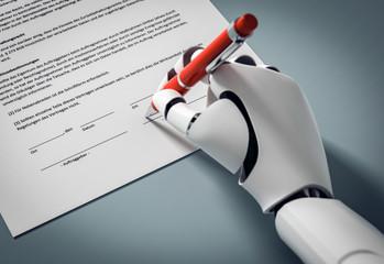 3D Illustration Roboter unterschreibt einen Vertrag mit roten Kugelschreiber