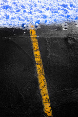 Road in Winter Yellow Line Leading to Snow Ice Dangerous Roadway