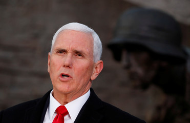 U.S. Vice President Mike Pence speaks next to the Warsaw Uprising Monument in Warsaw