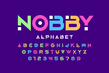 Modern font design, trendy alphabet letters and numbers Wall mural