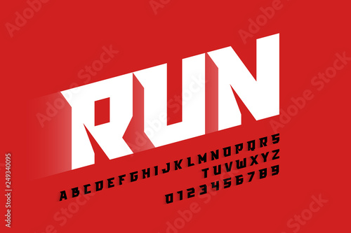 Sport style modern font, alphabet letters and numbers
