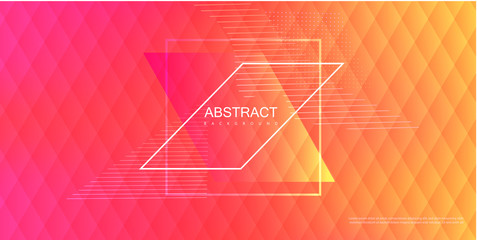 Abstract pink and orange spectrum background with geometric rhombus pattern.