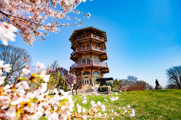 Pagoda-style tower in Patterson park, Baltimore Wall mural