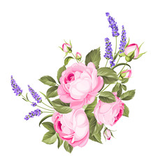 Blooming spring flowers garland of purple roses and violet lavender. Label with rose and lavender flowers. Vector illustration.