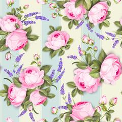 Provece lavender and pink roses floral wallpaper. Awesome design seamless pattern. Elegant rose pattern on blue tile background. Vector illustration.