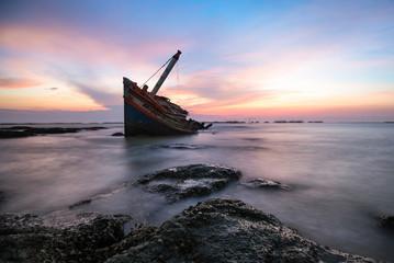 Garden Poster Shipwreck Shipwreck or wrecked boat on beach