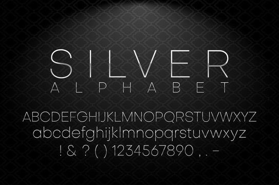 Silver latin alphabet and figures. Font design.
