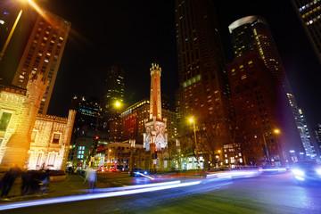 Illuminated Chicago Water Tower at night, USA