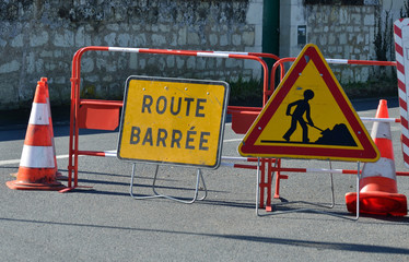Route barrée à cause de travaux