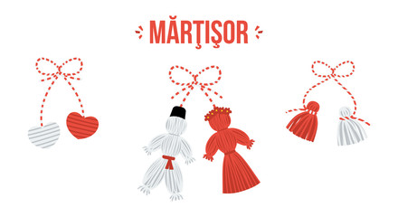 Set, collection of three vector talismans called martisor, traditional accessory for holiday of early spring in Romania and Moldova.