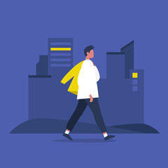 Young modern male character walking with jacket over shoulder. Lifestyle. Big city life. Flat editable vector illustration, clip art
