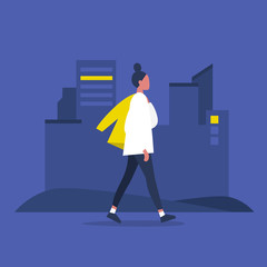 Young modern female character walking with jacket over shoulder. Lifestyle. Big city life. Flat editable vector illustration, clip art