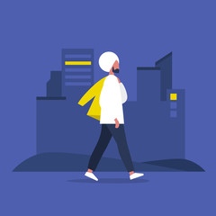 Young modern indian character walking with jacket over shoulder. Lifestyle. Big city life. Flat editable vector illustration, clip art