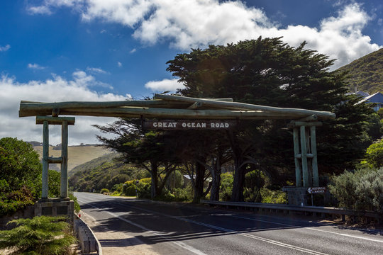 Wooden gate and street sign of the Great Ocean Road near Lorne, Victoria