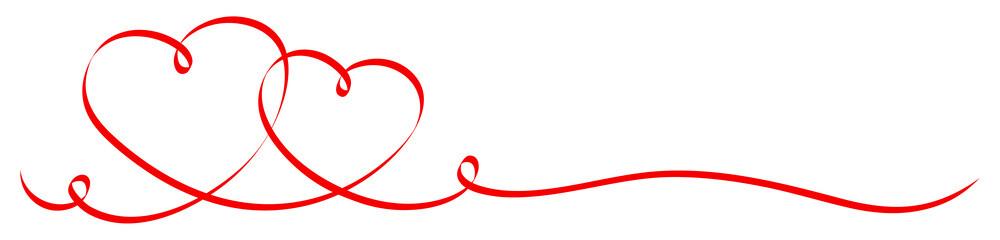 2 Verbundene Herzen Kalligrafie Rot