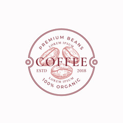 Coffe Badge or Logo Template. Hand Drawn Coffee Beans Sketch with Retro Typography and Borders. Vintage Premium Emblem.