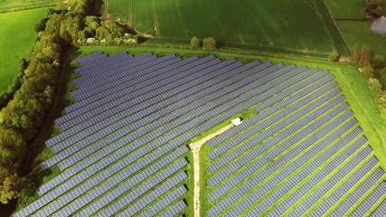 Green Energy Solar Farm with many Photovoltaic Panels