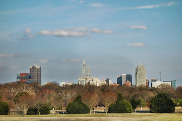 Downtown Raleigh skyline from Dix park