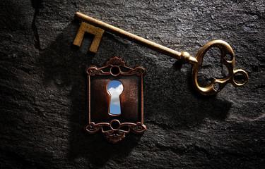 Bright sky key hole