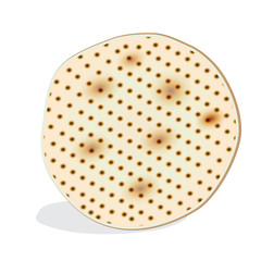 Passover Holiday - Matzah symbol isolated on white, matzah - Jewish traditional bread for Passover seder ceremony, pesach plate, prayer book, jewish food, family, matza icon, logo, religion, sign, car
