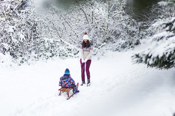 Mother and son sledding at winter day