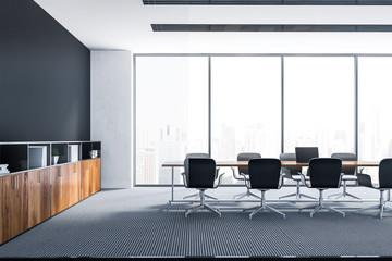 Black panoramic meeting room interior