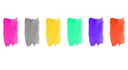 6 bunte gemalte Pinselstreifen