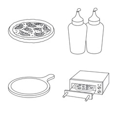 Isolated object of pizza and food icon. Collection of pizza and italy stock vector illustration.