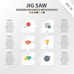 Vector of modern Jig Saw Infographic template, Business template for presentation, element of target, Illustration, flowchart, layout, Creative infographic Idea concept, content.