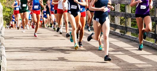 Girls high school cross country race running on a bridge Wall mural