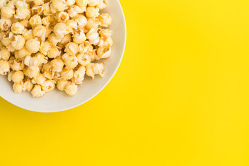 Pop corn on pastel color background.Food and snack concepts ideas.Minimal