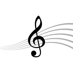 Treble Clef icon, Simple icon of treble key