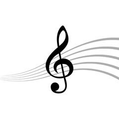 Treble Clef icon, Simple icon of treble key