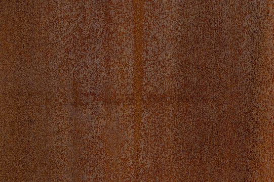 Ausschnitt Fassade aus verrostetem Corten Stahl mit verschiedenen Mustern, Strukturen und Texturen