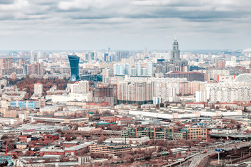 Aerial view of a Moscow city from observation point
