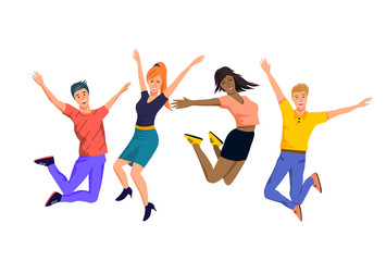 A team of happy and jumping people characters. Vector illustration