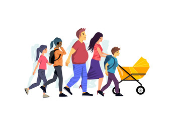 A casual and relaxed family walking together. Vector people illustration