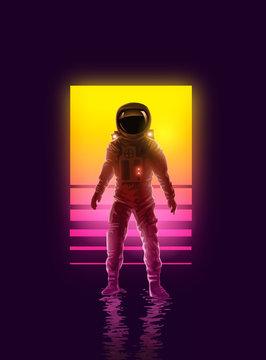 Neon Astronaut Spaceman Background Design