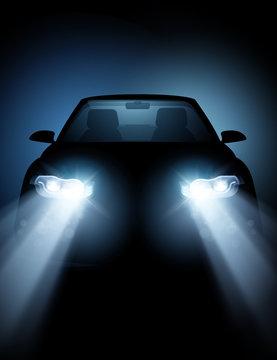 Modern Car with bright LED Headlights