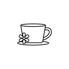cup with flower outline icon. Signs and symbols can be used for web, logo, mobile app, UI, UX