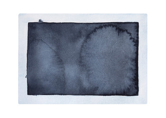 Empty stylized photo frame watercolour illustration. One single horizontal object, rectangular shape, front view. Hand drawn water color graphic sketch on white, cut out element for creative design.